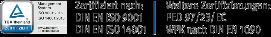 TÜV-Logo und Zertifizierungen
